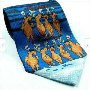 Happy Holidays Reindeer Sun Glasses Christmas Tie